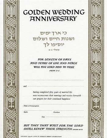 Golden anniversary certificate