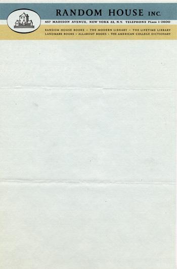 Random House letterhead