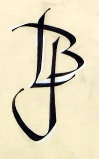 LBJ monogram sketch