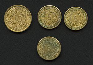 Rentenpfennig and Reichspfennig coins